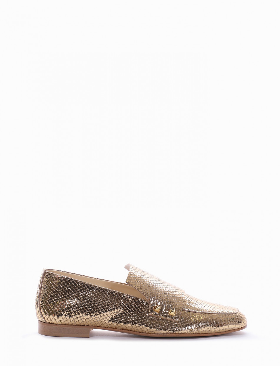 Loafers heel 1 cm gold pitone