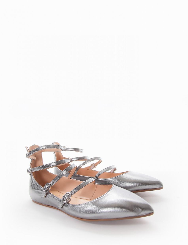 Ballerina tacco 1cm argento