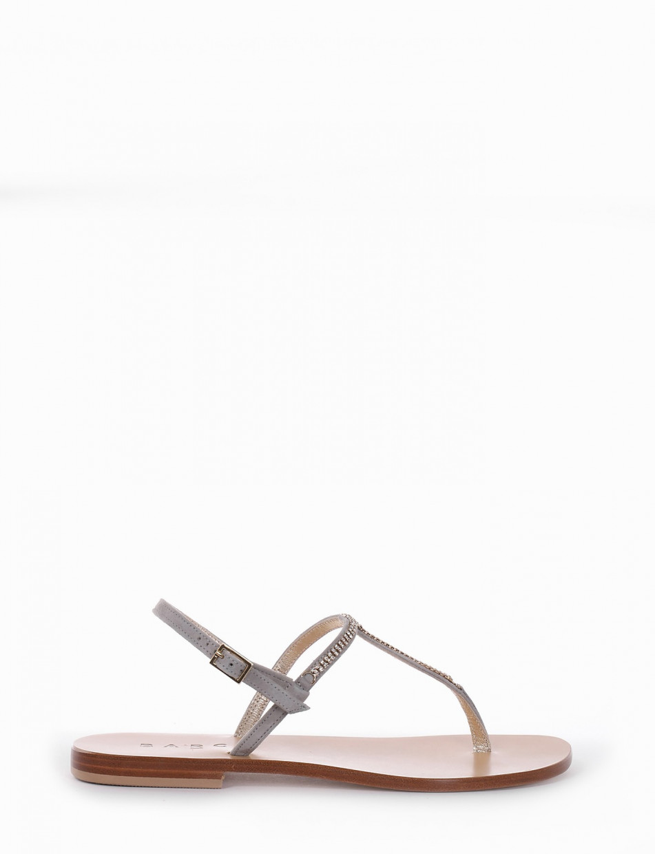 Flip flops heel 1 cm grey chamois