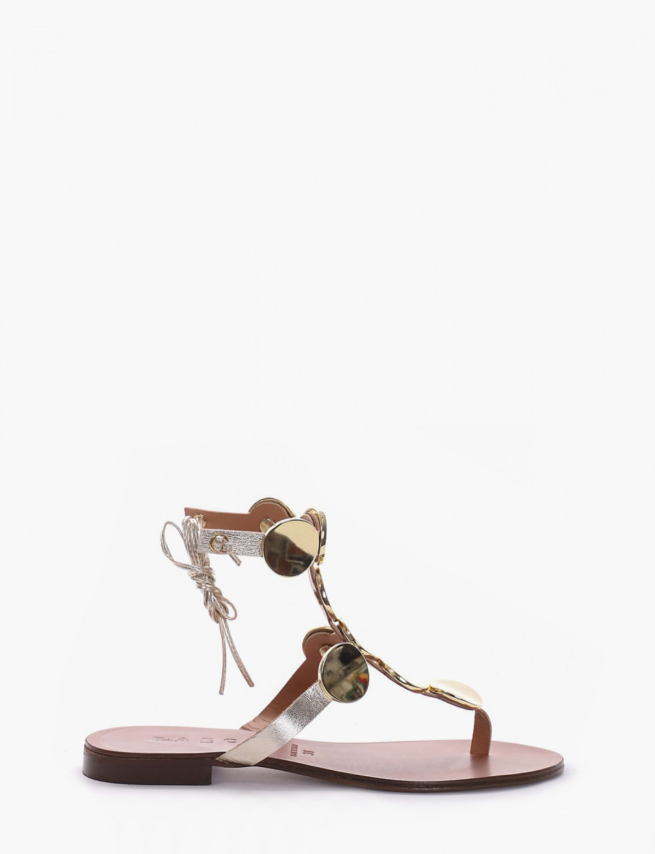 Flip flops heel 1 cm gold laminated