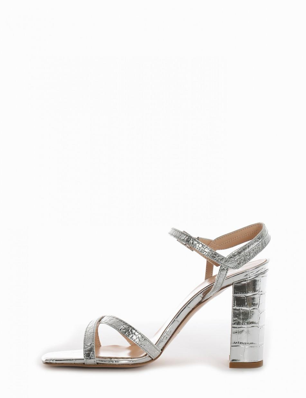 High heel sandals heel 9 cm silver cotto