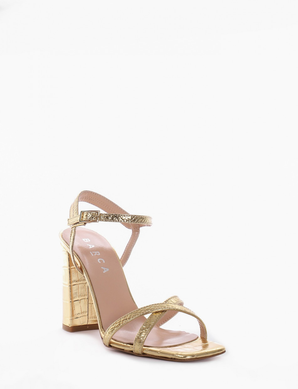 High heel sandals heel 9 cm gold coconut
