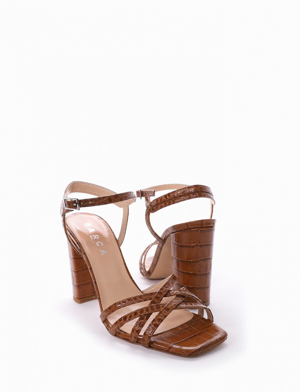 Sandalo tacco 10 cm cuoio