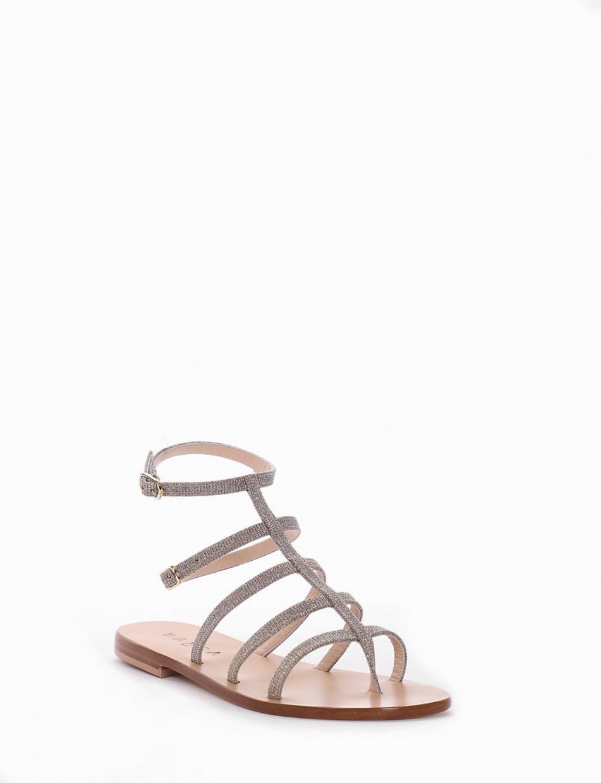 Flip flops heel 1 cm silver laminated