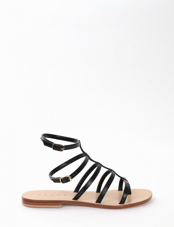 Flip flops heel 1 cm black leather