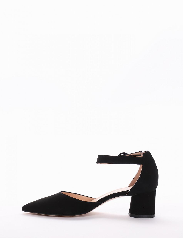 Pumps heel 7 cm black chamois