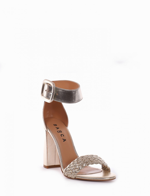 High heel sandals heel 9 cm gold laminated