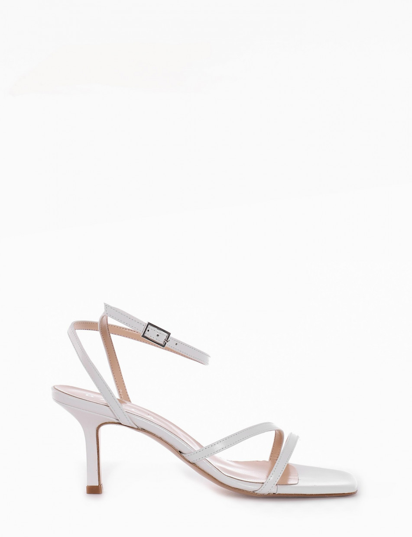 High heel sandals heel 9 cm white leather