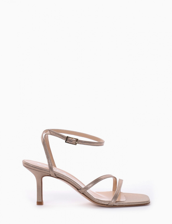 High heel sandals heel 9 cm platinum leather