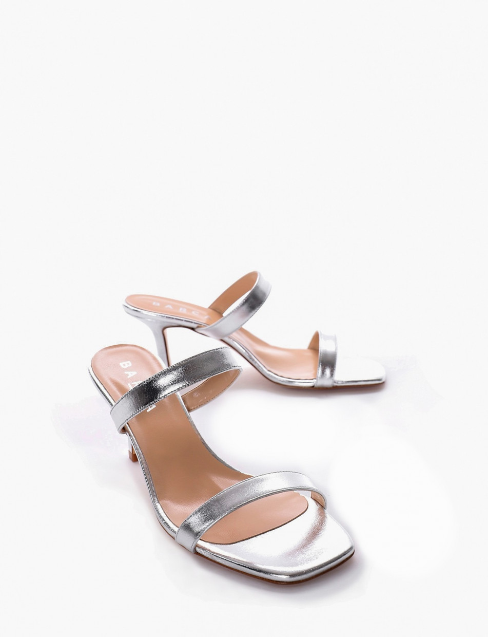 High heel sandals heel 7 cm silver laminated