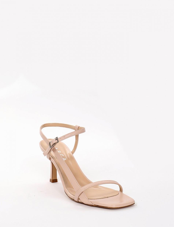 High heel sandals heel 7 cm pink leather