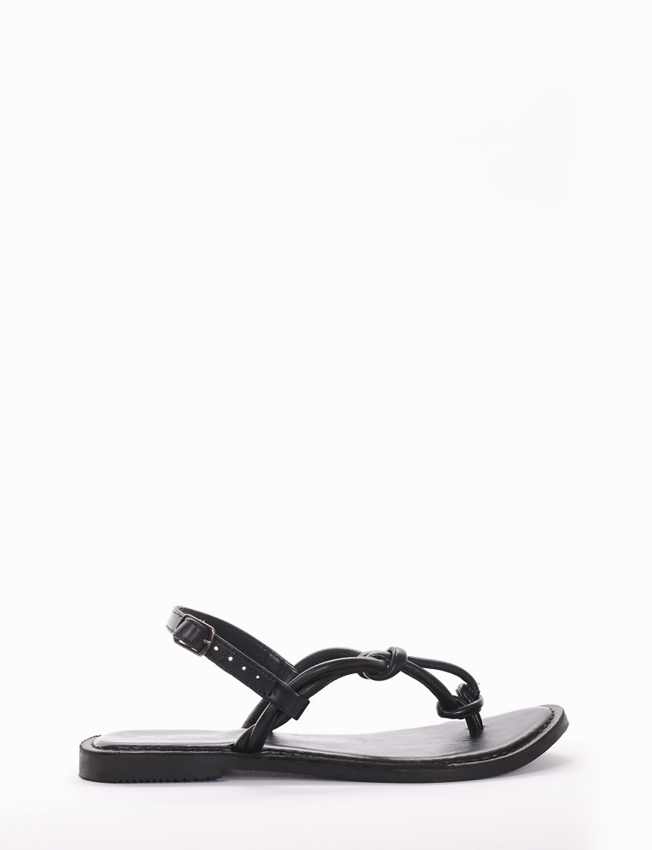 Flip flops heel 1cm black leather
