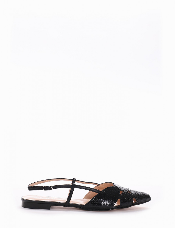 Flat shoes heel 1 cm black pitone