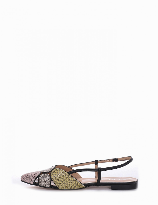 Flat shoes heel 1 cm multicolor python