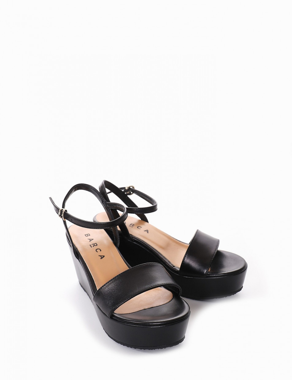 Wedge heels heel 8 cm black leather