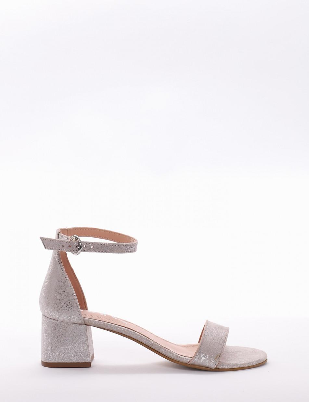 Sandalo tacco 5 cm  argento