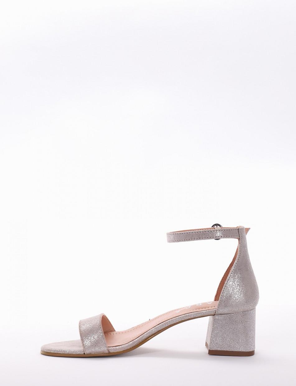 Low heel sandals heel 5 cm silver leather