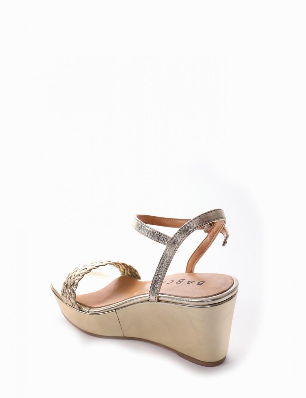 Sandalo zeppa 8 cm platino