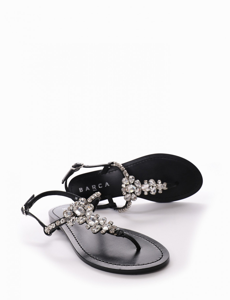 Flip flops heel 1 cm black leather