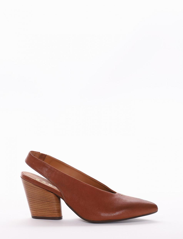 Pumps heel 6cm brown leather