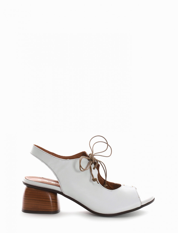 High heel sandals heel 5 cm white leather