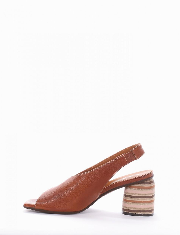 sandalo tacco 5 cm cuoio