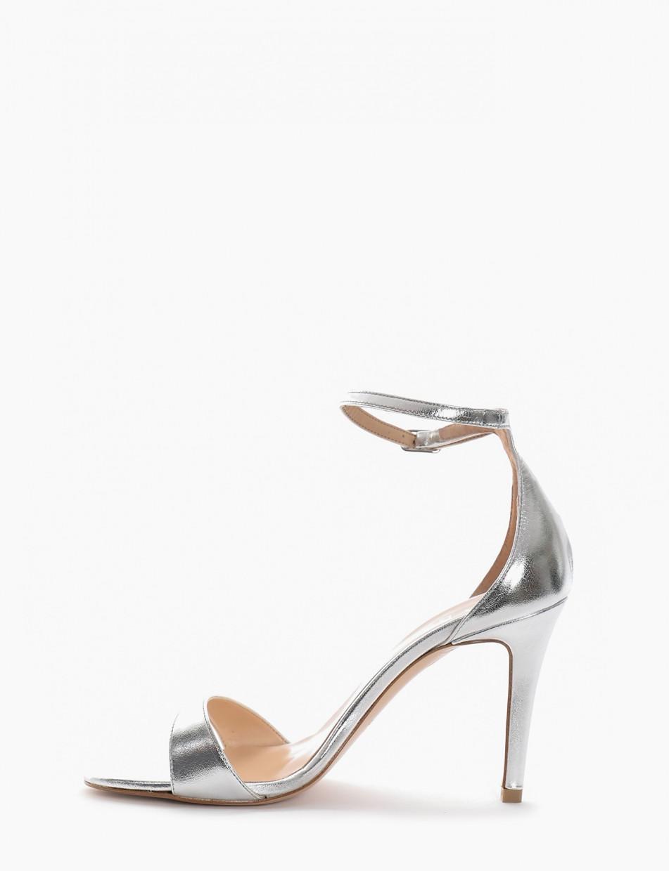 High heel sandals heel 9 cm silver leather
