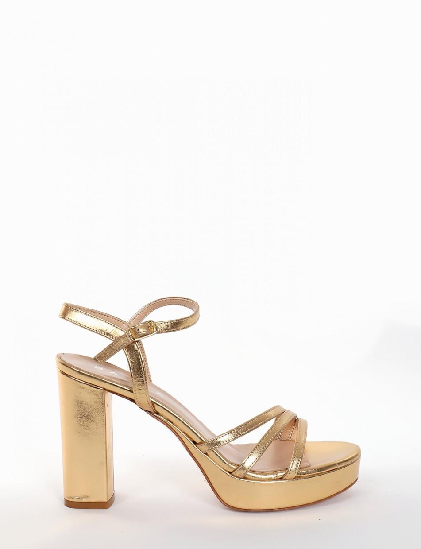 High heel sandals heel 10 cm gold laminated
