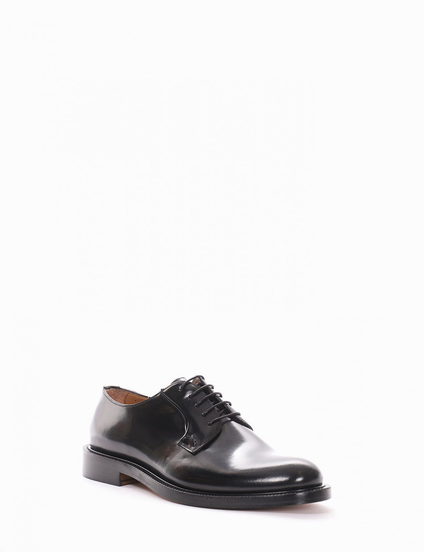 Lace-up shoes heel 2cm black brushed