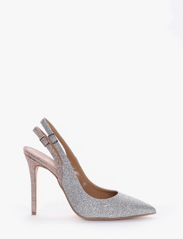 Pumps heel 0 cm silver glitter