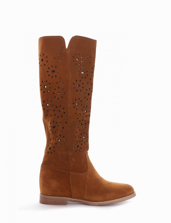 Low heel boots heel 2 cm brown chamois