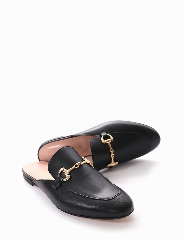 Sabot heel 1 cm black leather