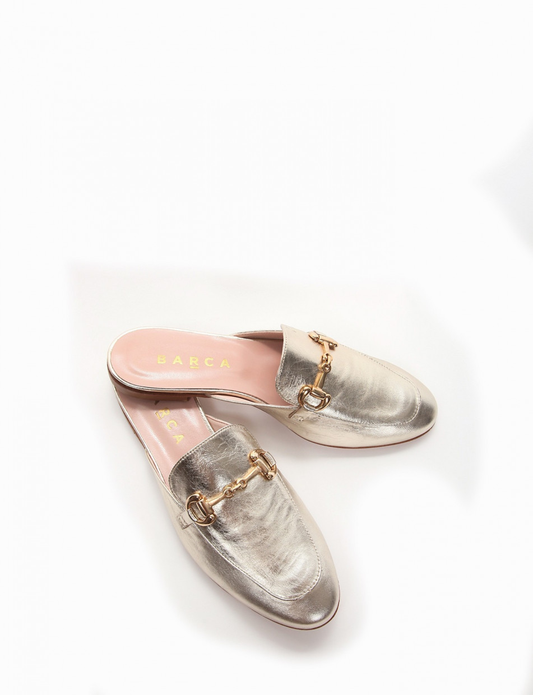 Sabot heel 1 cm gold laminated