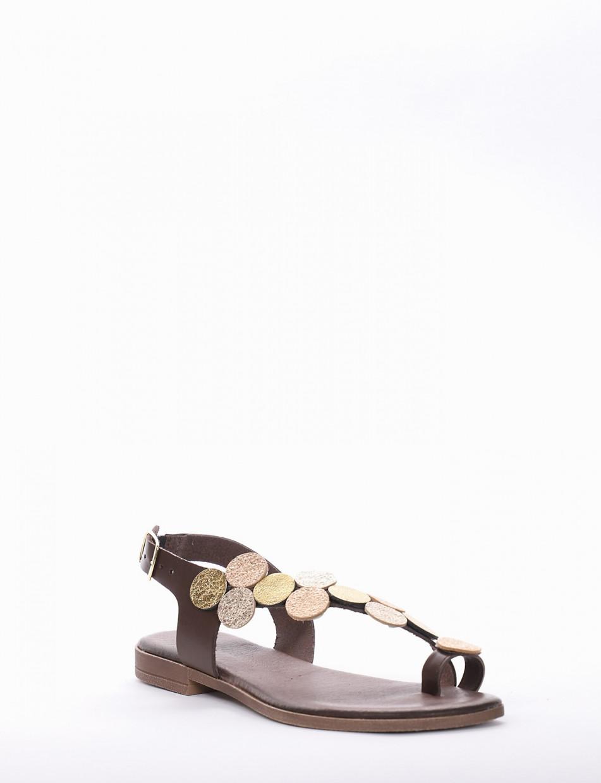 Flip flops heel 1 cm dark brown leather