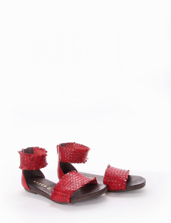 Low heel sandals heel 1 cm red leather