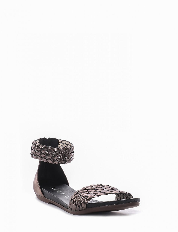 Low heel sandals heel 1 cm silver leather