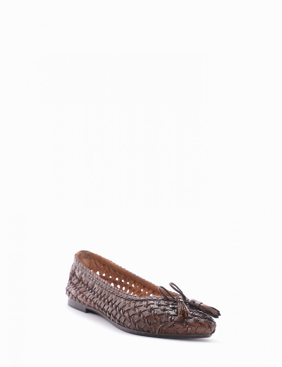 Flat shoes heel 1 cm brown leather