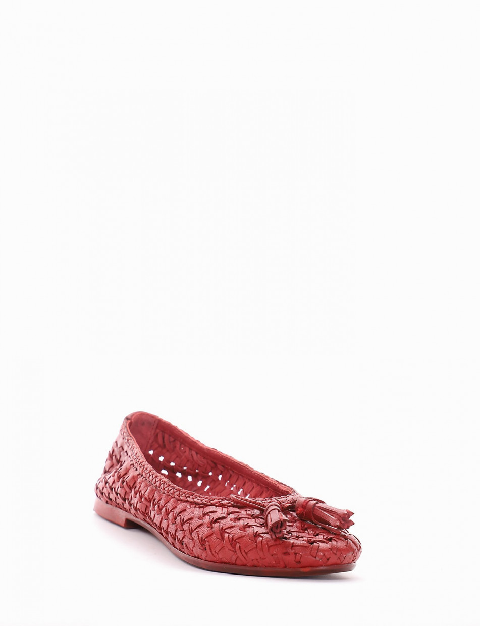 Flat shoes heel 1 cm red leather