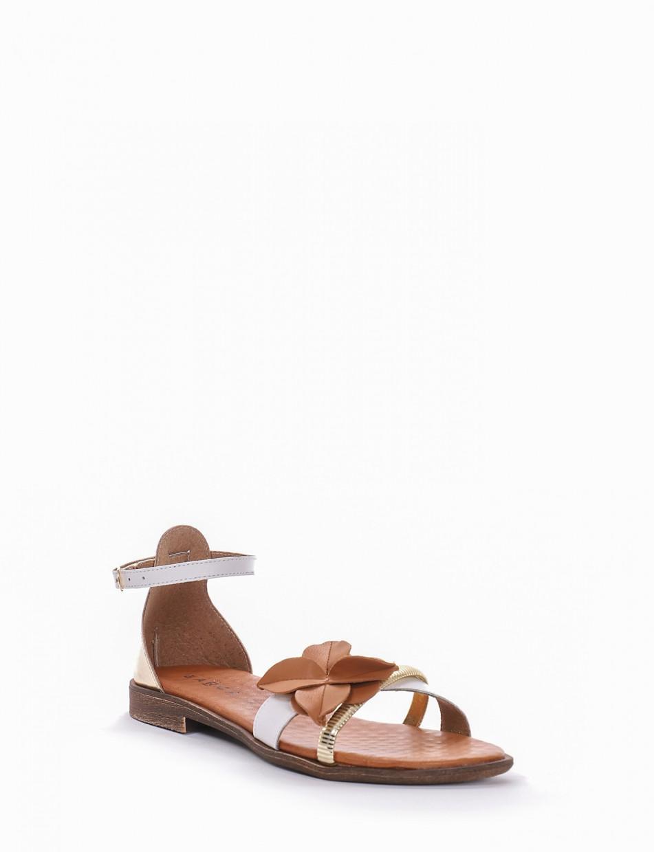 Low heel sandals heel 1 cm white laminated