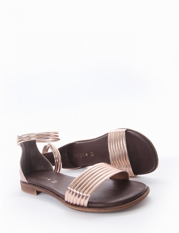 Low heel sandals heel 1 cm bronze leather