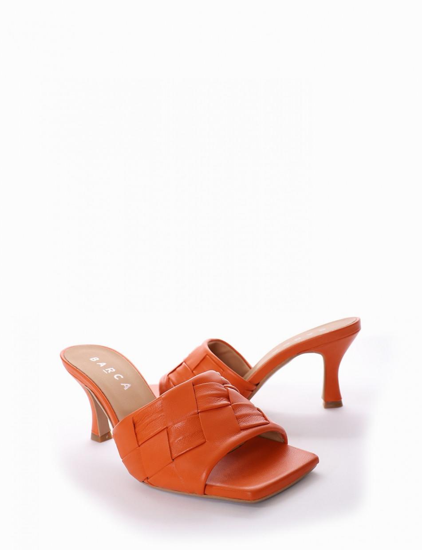 Ciabatta tacco 5 cm arancio