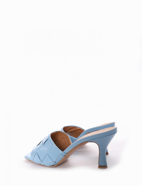 Ciabatta tacco 5 cm azzurro
