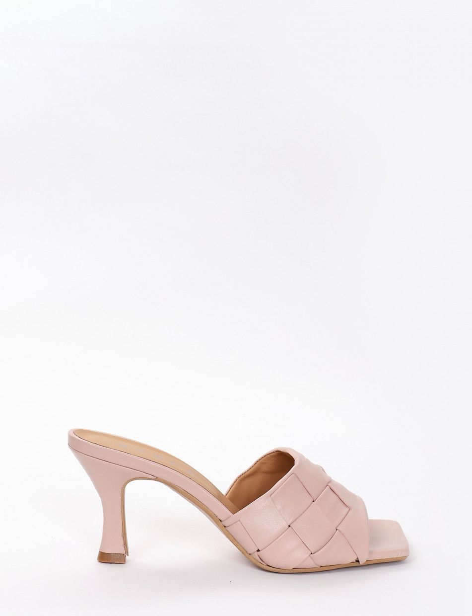 Slippers heel 5 cm pink leather