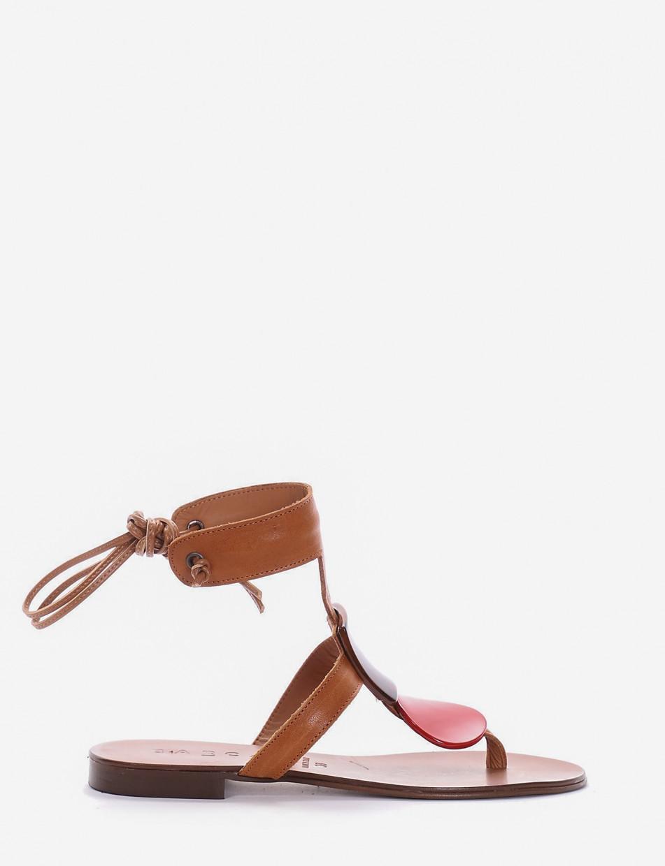 Sandalo infradito tacco 1 cm cuoio