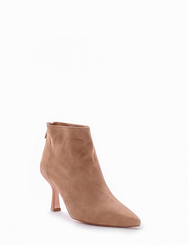 High heel ankle boots heel 7 cm beige chamois