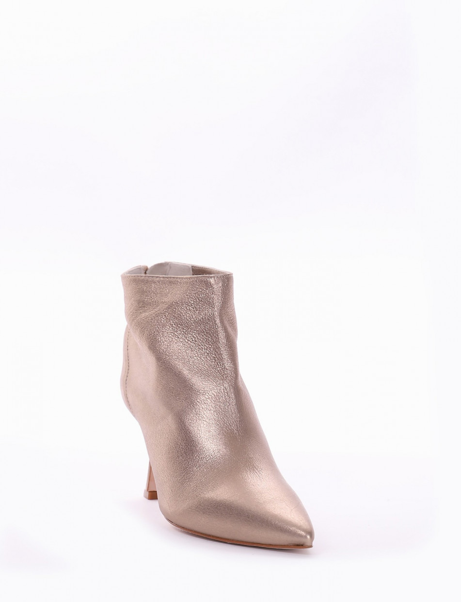 High heel ankle boots heel 7 cm gold laminated