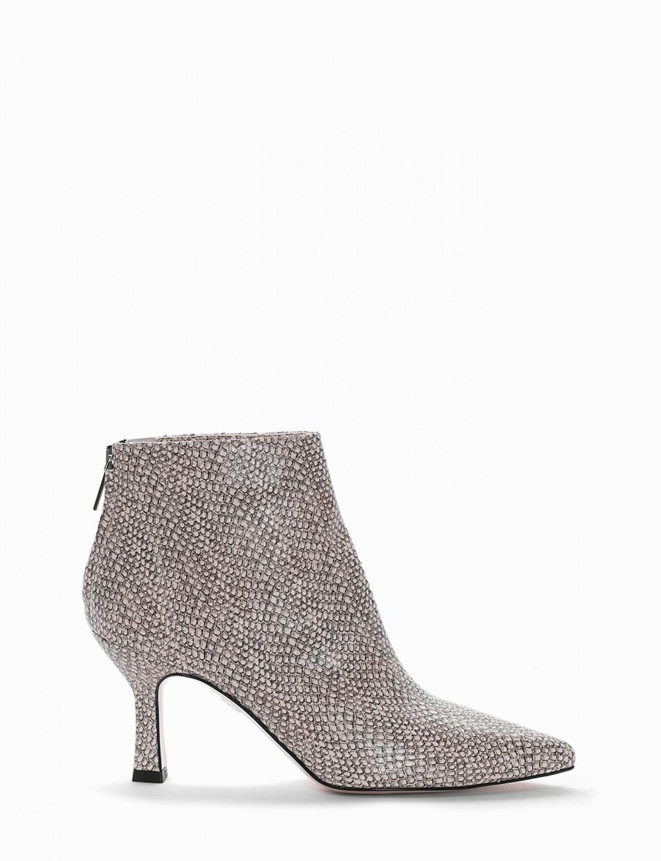 High heel ankle boots heel 7 cm beige python