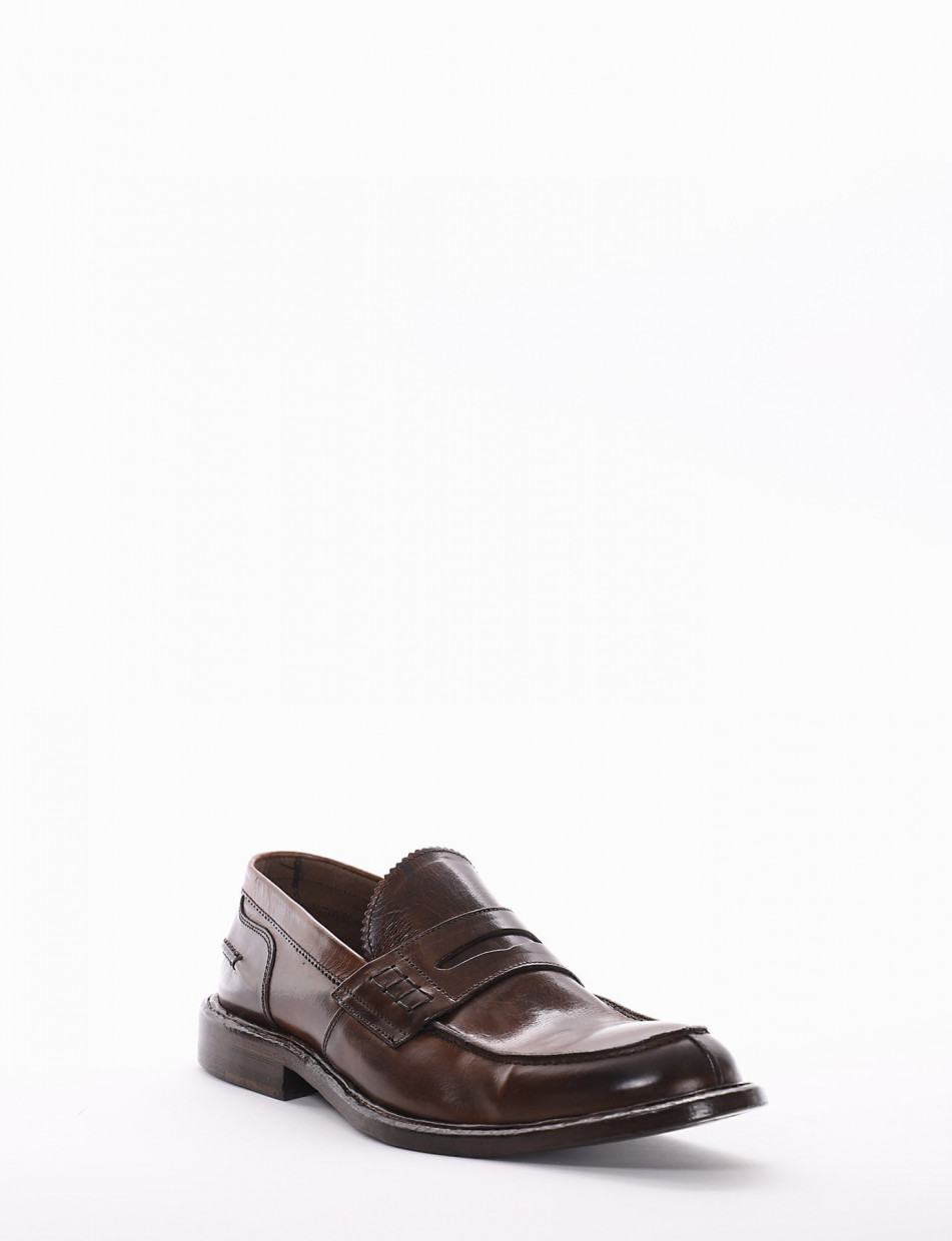 Loafers heel 2 cm brown leather