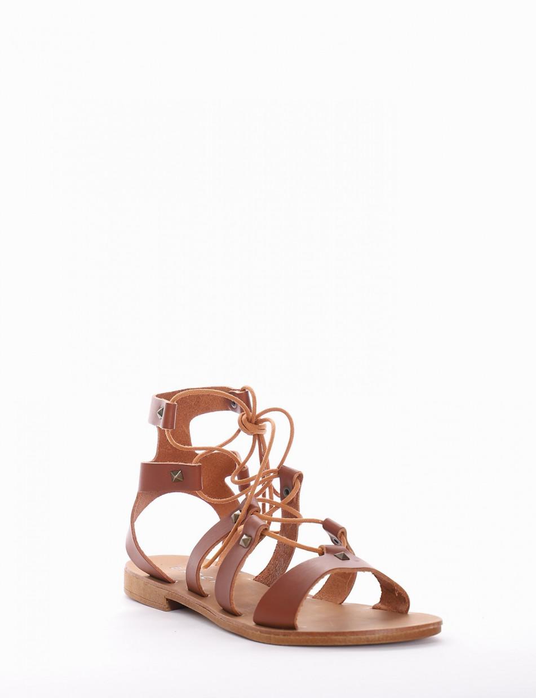 sandalo tacco 1 cm cuoio