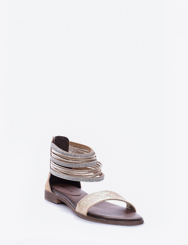 Low heel sandals heel 1 cm gold leather